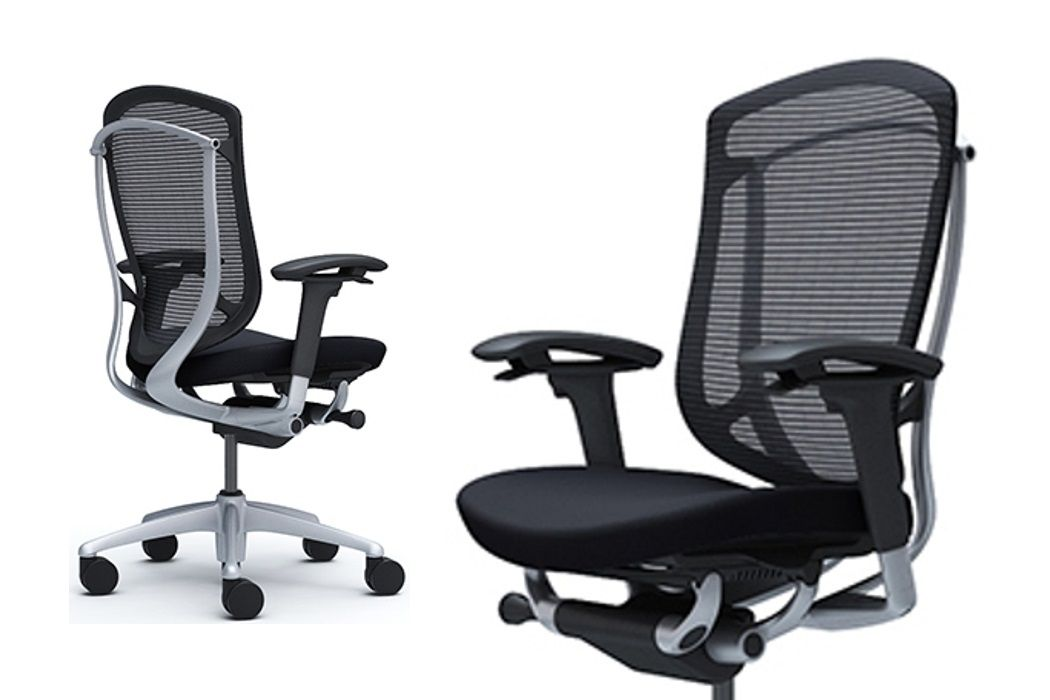 OKAMURA CONTESSA Seconda Silver Frame Black Cushion Seat Chair
