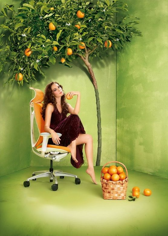 SABRINA SMART White Body Orange Chair