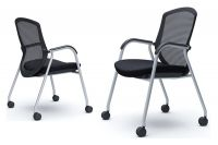 OKAMURA CONTESSA GUEST Silver base Black mesh Chair
