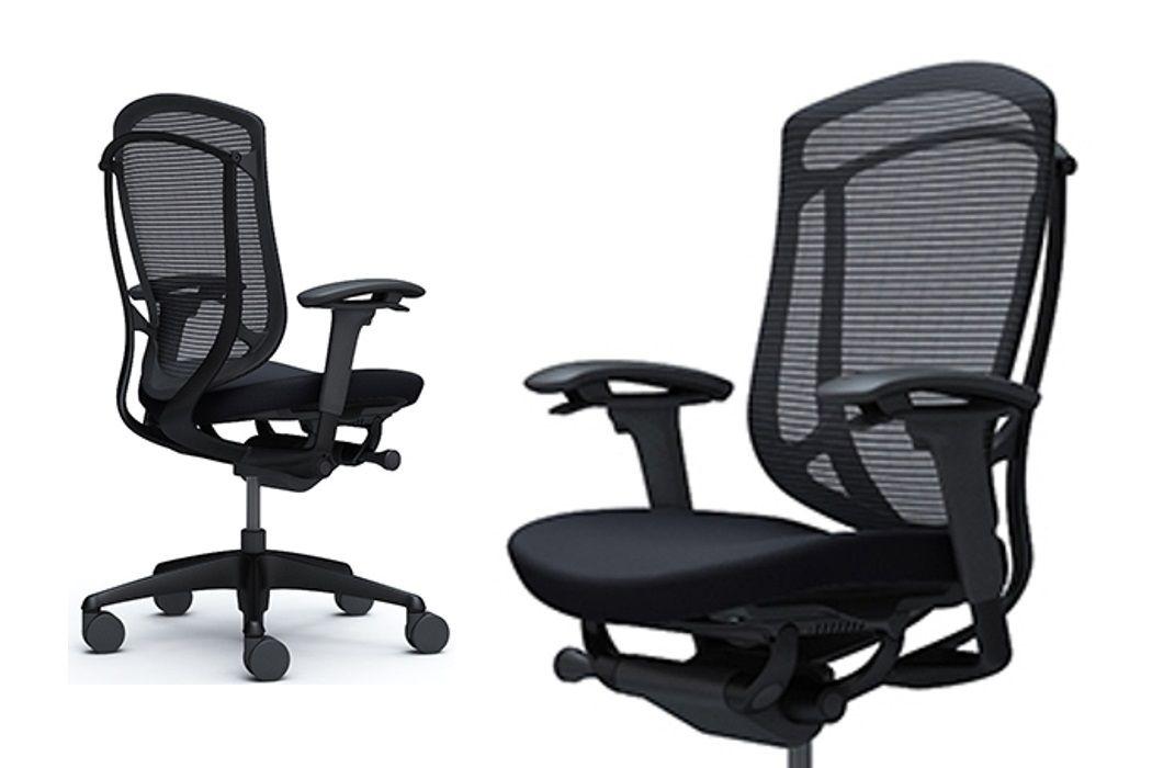 OKAMURA CONTESSA SECONDA Black Aluminum Frame Black Cushion Seat Chair