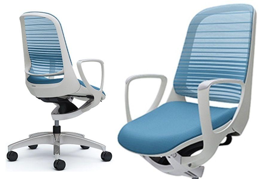 OKAMURA LUCE White body Aqua Blue Gradated Mesh Chair