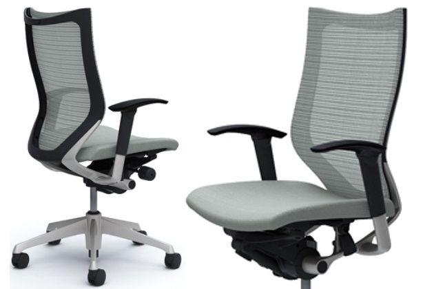 OKAMURA CP Silver frame Light Grey Cushion Seat Chair